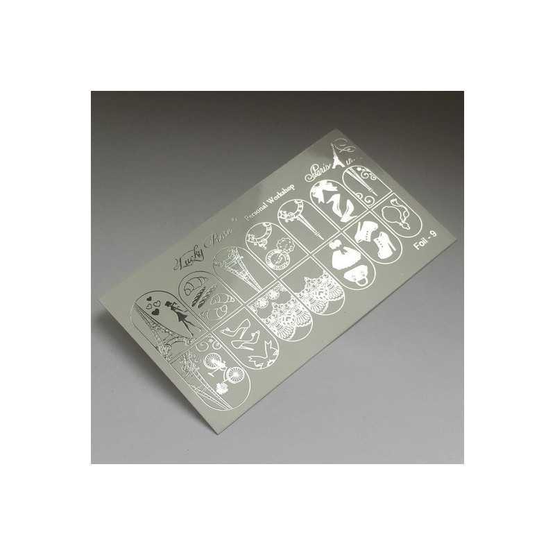 Фольгированный слайдер дизайн прозрачная пленка Foll 08 Серебро