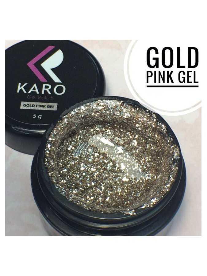 Гель-блестки Gold pink Gel KARO