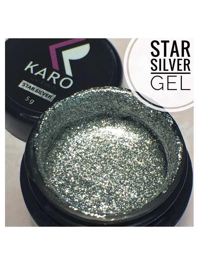 Гель-блестки Star Silver Gel KARO